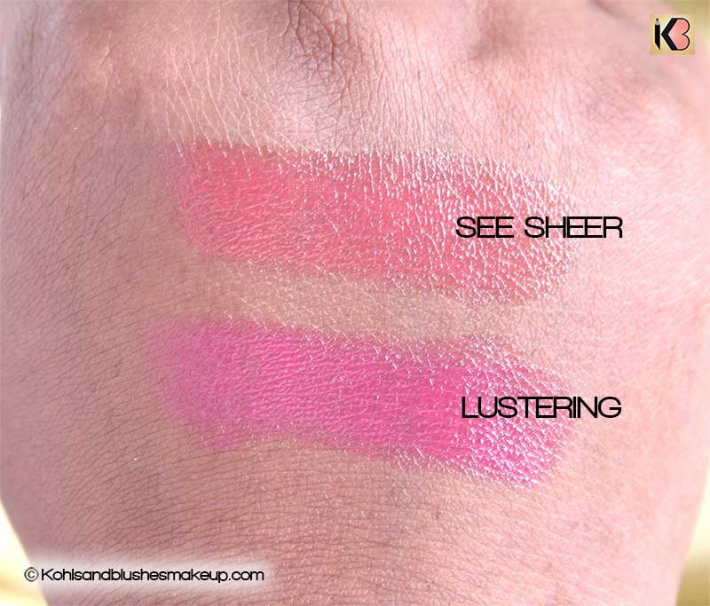 MAC Lipstick in See sheer and MAC Lipstick Lustering mini review